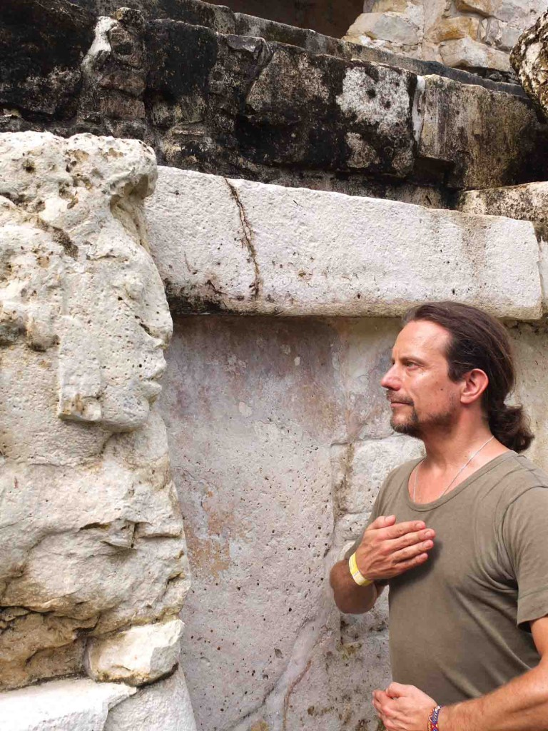 Shamanic meditation with Mayan spirit, Palenque, Mexico